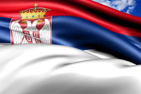 Flag of Serbia. Close up.  photo