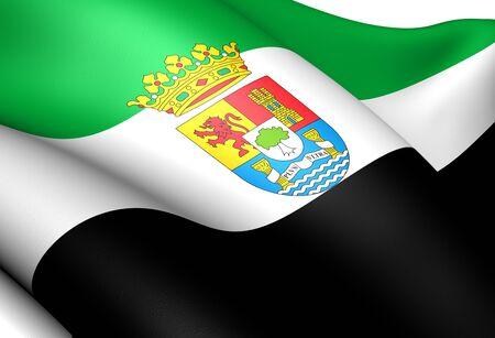 Flag of Extremadura, Spain. Close up. Stock Photo - 11751652