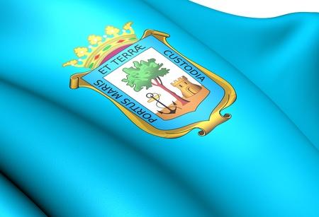 huelva: Flag of Huelva city, Spain. Close up.