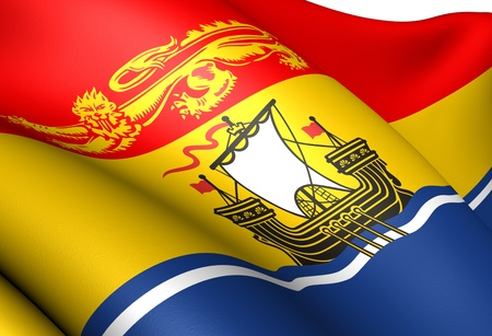 canadian state flag: Flag of New Brunswick, Canada. Close up.