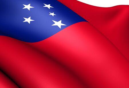 samoa: Independent State of Samoa flag. Close up.  Stock Photo
