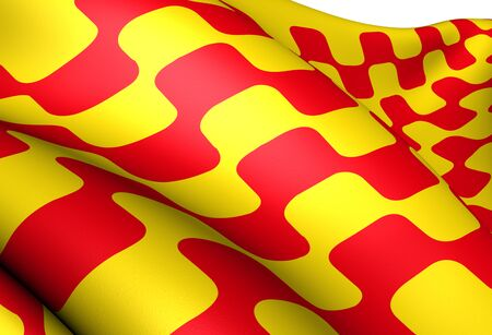 catalonia: Flag of Tarragona city, Spain. Close up.