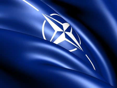 north atlantic treaty organization: North Atlantic Treaty Organization flag. Close up.