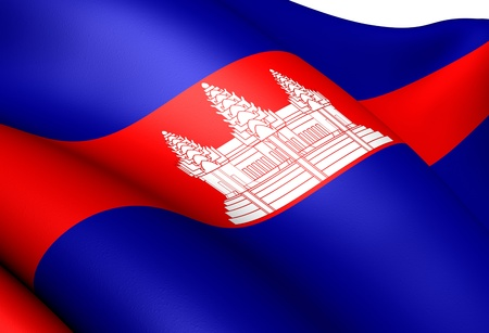 cambodian flag: Flag of Cambodia. Close Up.