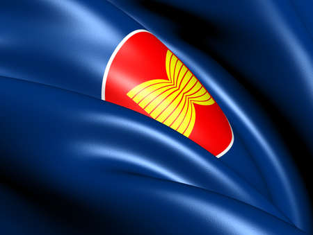 asean: Association of Southeast Asian Nations Flag. Close Up.    Stock Photo