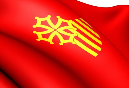 Flag of Languedoc-Roussillon, France. Close Up.    photo