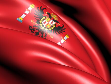 Flag of Toledo Province, Spain. Close Up.  photo