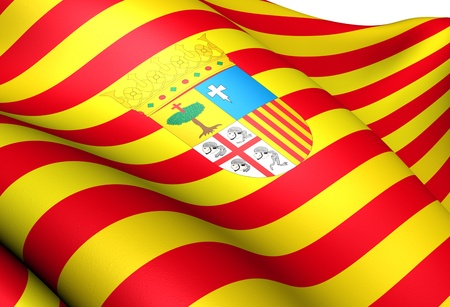 aragon: Flag of Aragon, Spain. Close Up.  Stock Photo