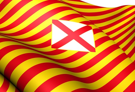 Flag of Barcelona Province, Spain. Close Up.  Stock Photo - 12126475