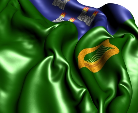 baile: Flag of Dublin, Ireland. Close Up.