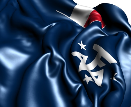 antarctic: French Southern and Antarctic Lands Flag. Close Up.