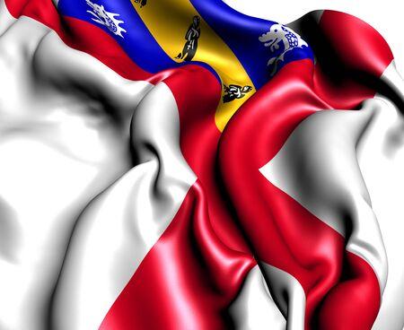 bailiwick: Flag of Herm. Close Up.
