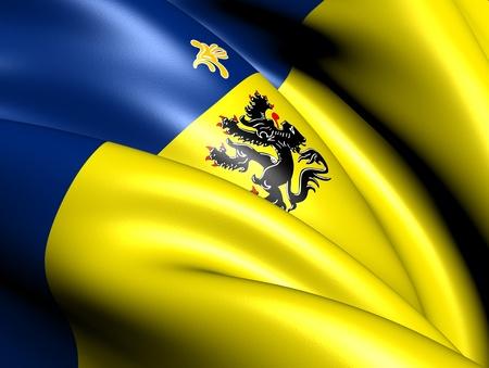 flemish region: Flemish Community Commission Flag. Close Up.
