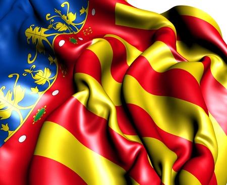 Flag of Valencian Community, Spain. Close Up.    photo