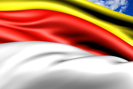 munster: Flag of Munster, Germany. Close Up.    Stock Photo