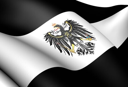 Kingdom of Prussia Flag (1701-1918). Close Up.   photo