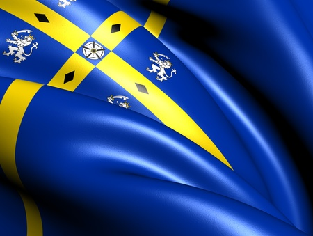 durham: County Durham Flag, England. Close Up.