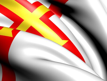 bailiwick: Flag of Guernsey. Close Up.