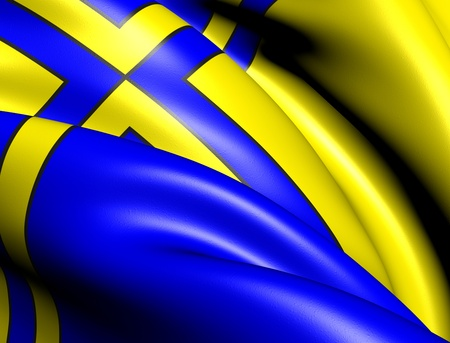 western town: Flag of Davos, Switzerland. Close Up.  Stock Photo