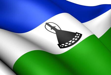 lesotho: Flag of Lesotho. Close Up.    Stock Photo