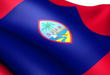 guam: Flag of Guam. Close Up.  Stock Photo