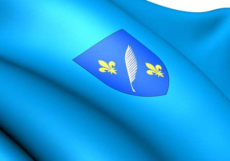 commune: Flag of Cannes, France. Close Up.