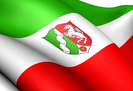 Flag of North Rhine-Westphalia, Germany. Close Up.