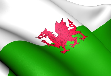 cymru: Flag of Wales. Close Up.
