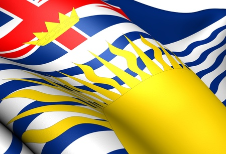 canadian state flag: Flag of British Columbia, Canada. Close Up.