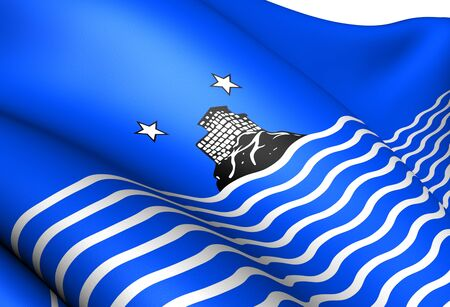 Flag of Risor, Norway. Close Up.  photo