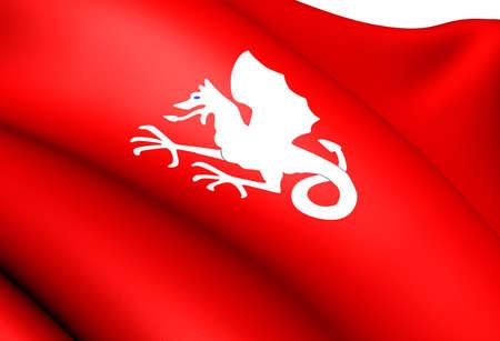 Flag of Skiptvet, Norway. Close Up.  photo