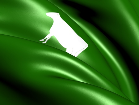 Flag of Lyngdal, Norway. Close Up. Stock Photo - 13071221