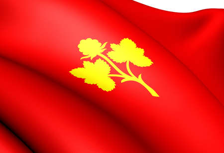 Flag of Nesseby, Norway. Close Up.  photo