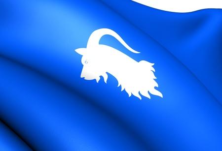 Flag of Aurland, Norway. Close Up.  photo