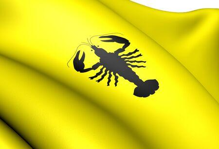 holand: Flag of Aurskog-Holand, Norway. Close Up.