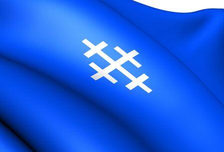 Flag of Royrvik, Norway. Close Up.  photo