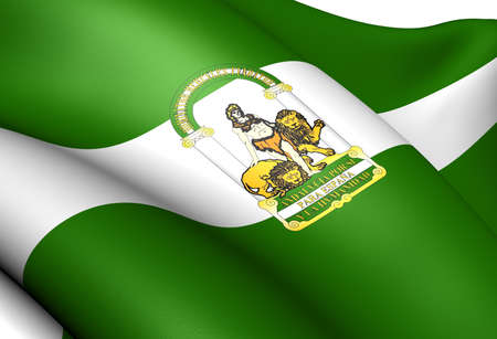 andalusien: Flagge von Andalusien, Spanien. Close Up.
