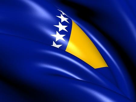 bosna and herzegovina: Flag of Bosnia and Herzegovina. Close Up.  Stock Photo