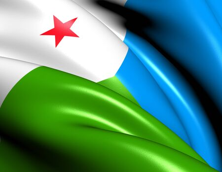 northeast: Flag of Djibouti. Close Up.    Stock Photo