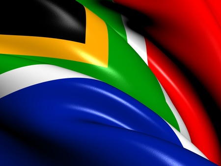 south african flag: Flag of South Africa. Close Up.