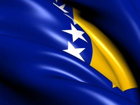 i nobody: Flag of Bosnia and Herzegovina. Close Up.  Stock Photo