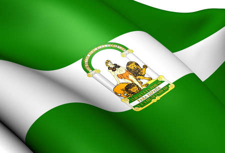 Flag of Andalusia, Spain. Close Up. Stock Photo - 13897821