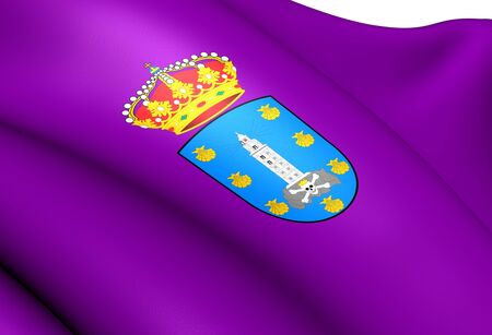 La Coruna Flag, Spain. Close Up.   photo