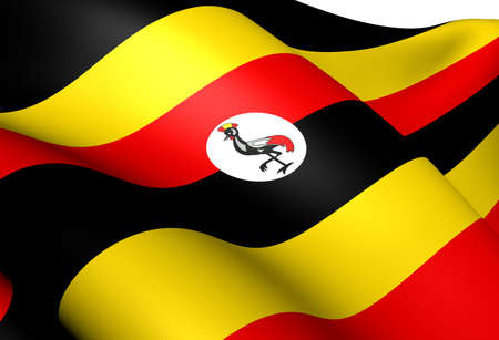 ugandan: Flag of Uganda. Close Up.