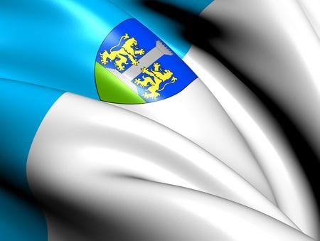 blason: Flag of Ajaccio, France. Close Up.