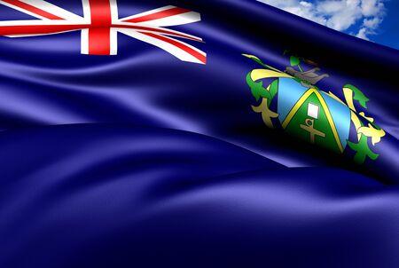 pitcairn: Flag of Pitcairn Islands. Close Up. Stock Photo