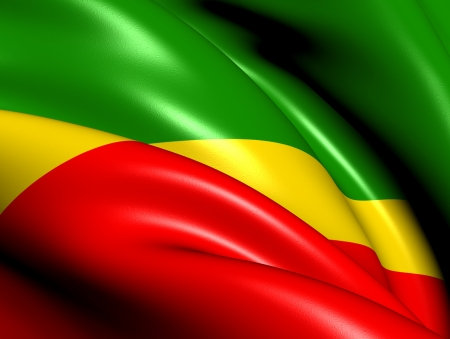 republic of the congo: Flag of Congo  Close Up     Stock Photo