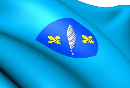 blason: Flag of Cannes, France. Close Up.