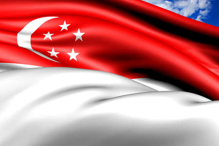 singaporean flag: Flag of Singapore. Close Up.