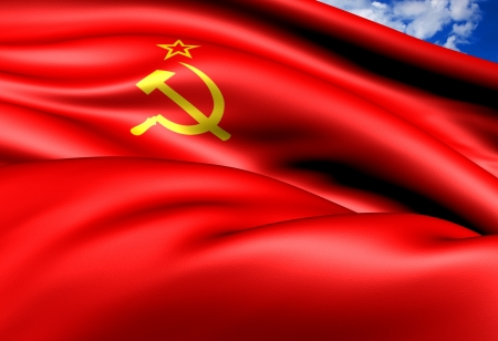 Flag of the Soviet Union. Close Up.  photo